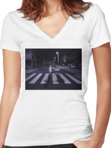 Monogatari – Mayoi and Shinobu crosswalk Women's Fitted V-Neck T-Shirt