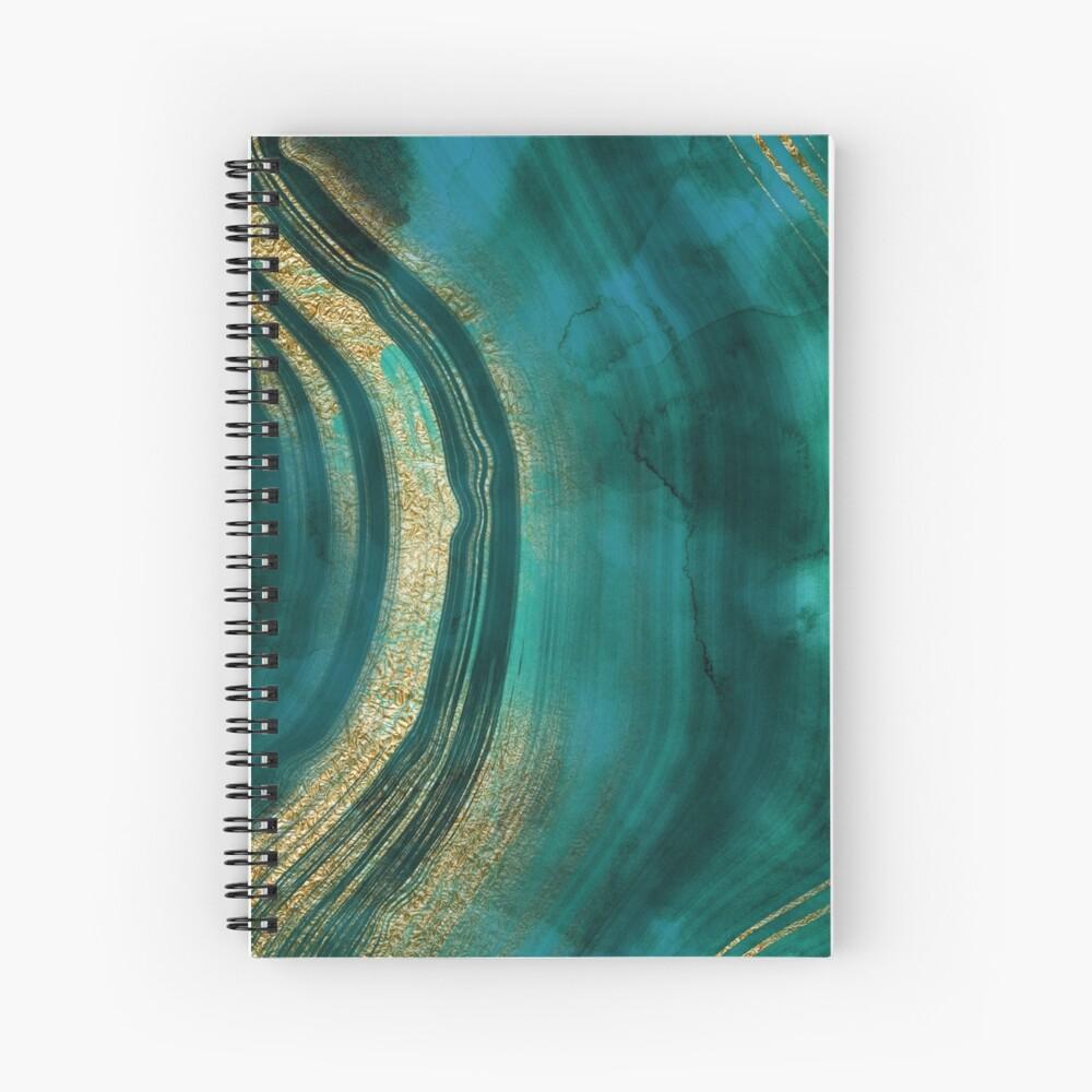 Gold Veined Green Luxury Marble  Spiral Notebook
