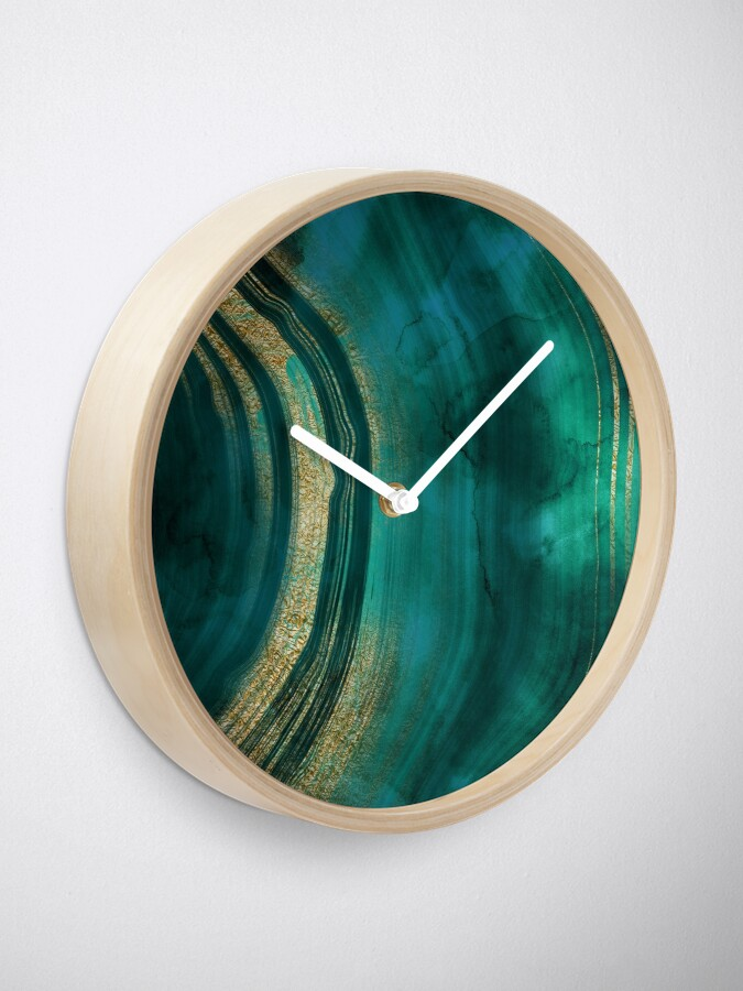 Alternate view of Gold Veined Green Luxury Marble  Clock