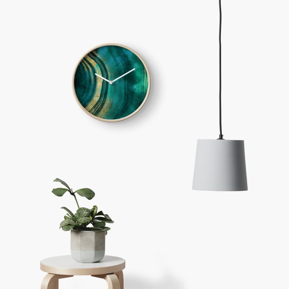 Gold Veined Green Luxury Marble  Clock