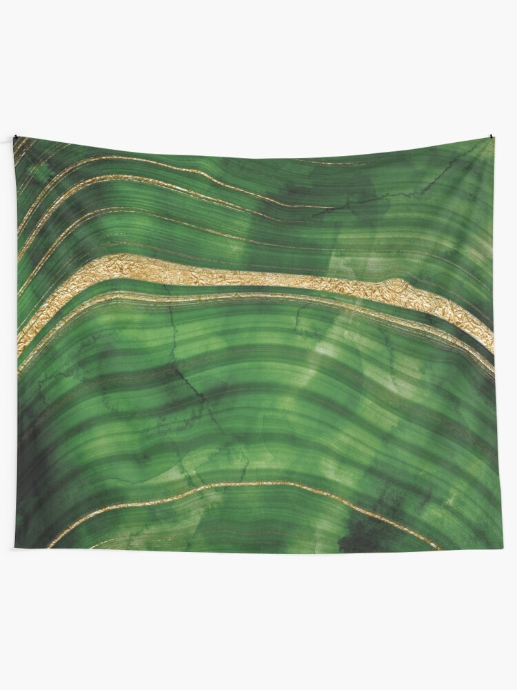 Alternate view of Malachite Green Marble with Gold Veins Tapestry
