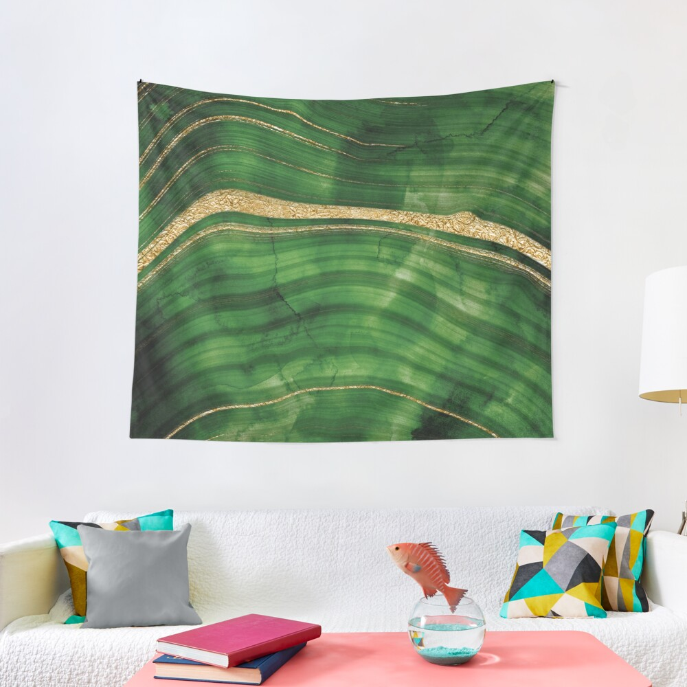 Malachite Green Marble with Gold Veins Tapestry