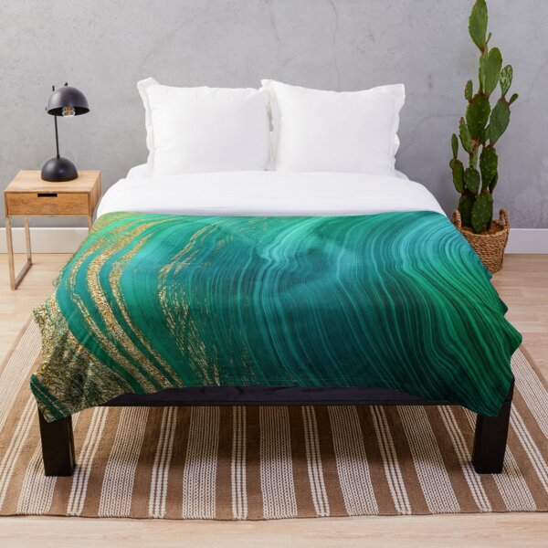 Malachite Green Marble with Gold Veins Throw Blanket