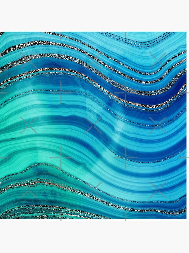 Ocean Blue Mermaid Gold Glitter Marble by MysticMarble