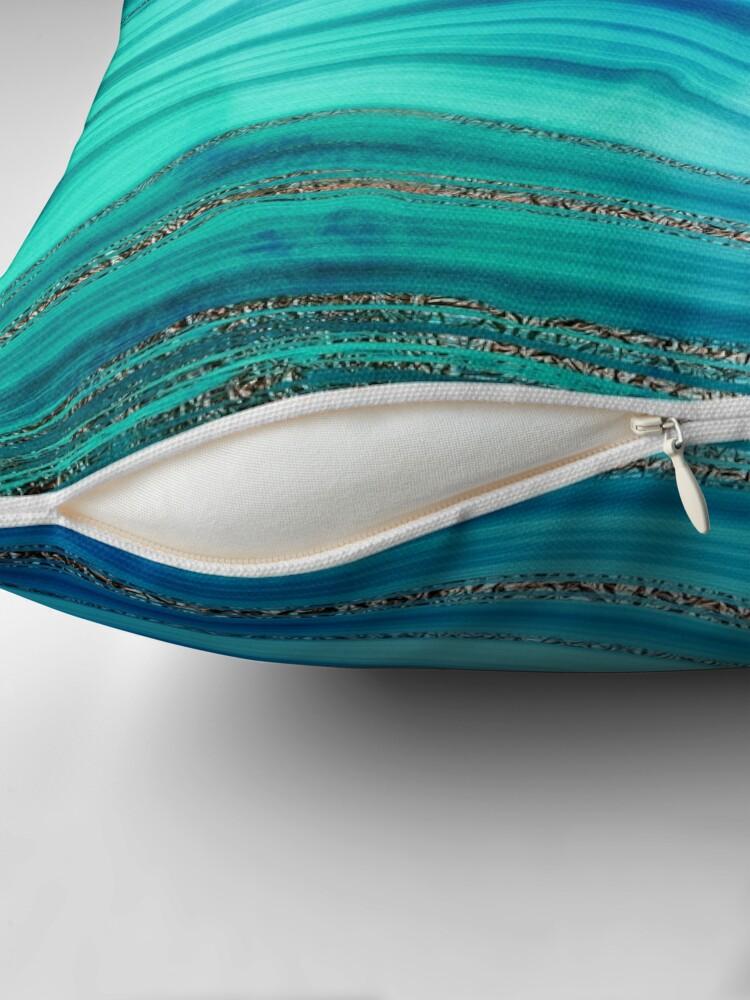 Alternate view of Ocean Blue Mermaid Gold Glitter Marble Throw Pillow