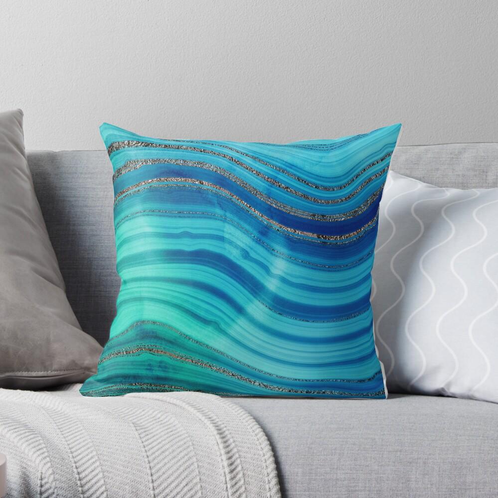 Ocean Blue Mermaid Gold Glitter Marble Throw Pillow