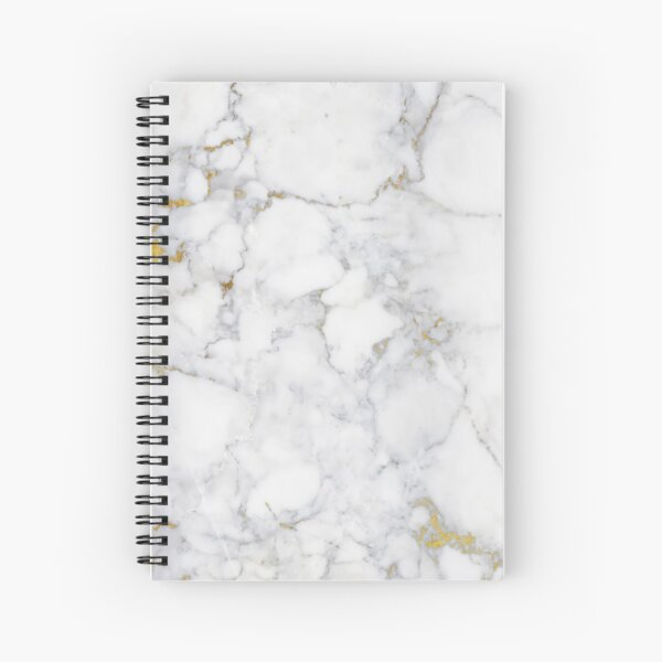 Gold Veins on Gray and White Marble I Spiral Notebook