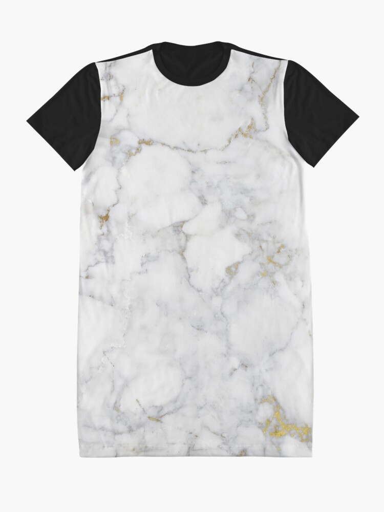 Alternate view of Gold Veins on Gray and White Marble I Graphic T-Shirt Dress