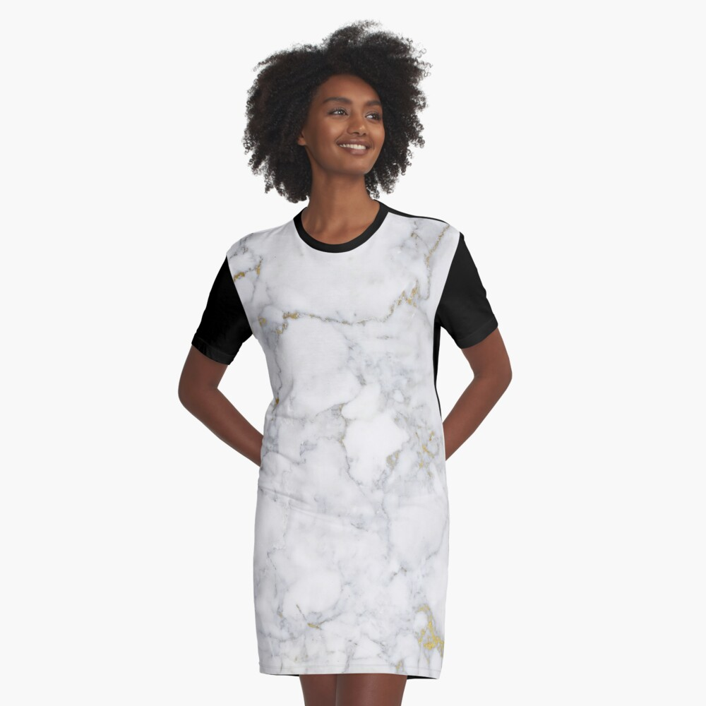 Gold Veins on Gray and White Marble I Graphic T-Shirt Dress