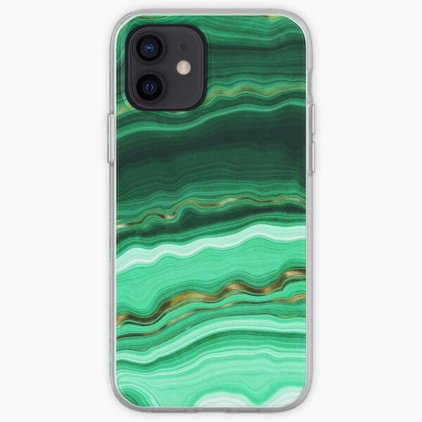 Green and Gold and Mint veined Malachite Gemstone iPhone Soft Case