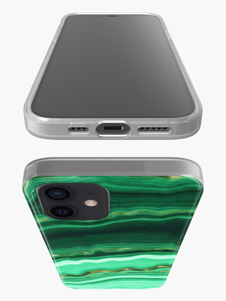 Alternate view of Green and Gold and Mint veined Malachite Gemstone iPhone Case & Cover