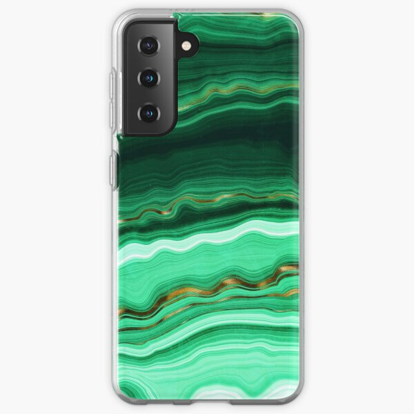 Green and Gold and Mint veined Malachite Gemstone Samsung Galaxy Soft Case