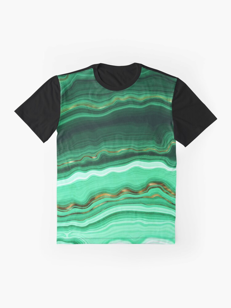 Alternate view of Green and Gold and Mint veined Malachite Gemstone Graphic T-Shirt