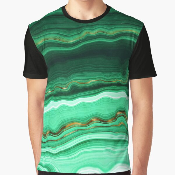 Green and Gold and Mint veined Malachite Gemstone Graphic T-Shirt