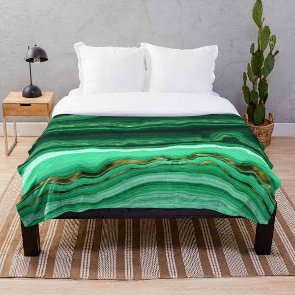 Green and Gold and Mint veined Malachite Gemstone Throw Blanket