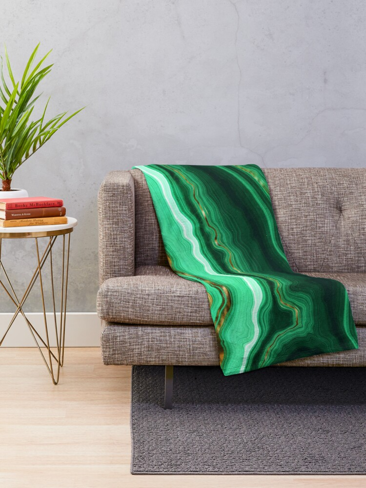 Alternate view of Green and Gold and Mint veined Malachite Gemstone Throw Blanket