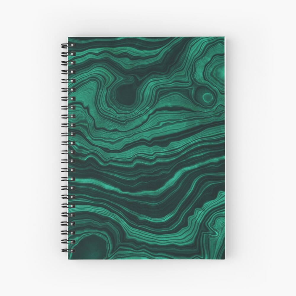 Malachite Green Marble with light Veins Spiral Notebook