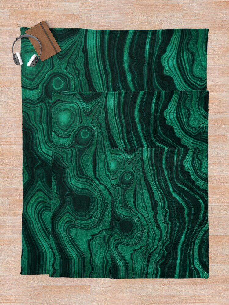 Alternate view of Malachite Green Marble with light Veins Throw Blanket