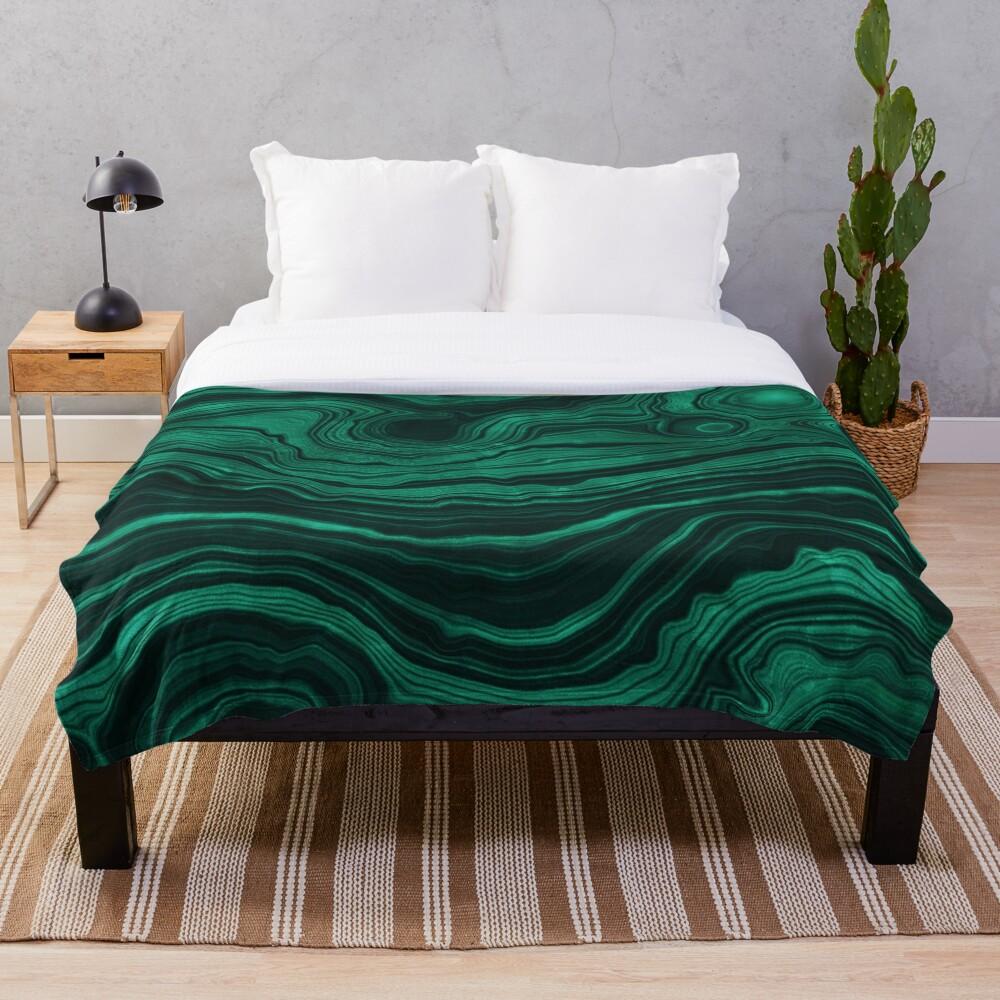 Malachite Green Marble with light Veins Throw Blanket
