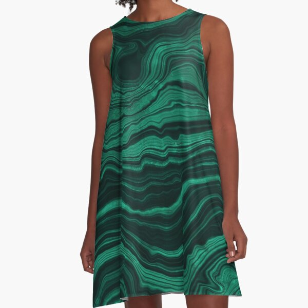 Malachite Green Marble with light Veins A-Line Dress