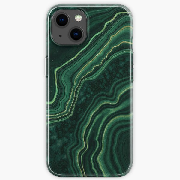 Malachite Green Marble with Gold Veins iPhone Soft Case