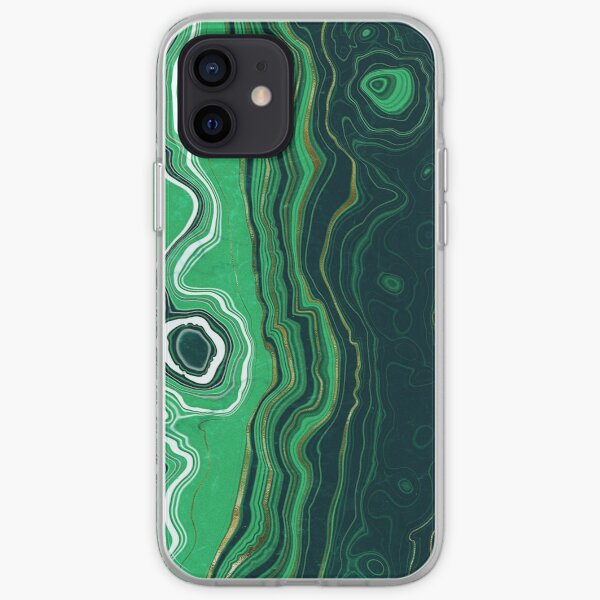 Malachite Green Marble with Gold Veins VI iPhone Soft Case