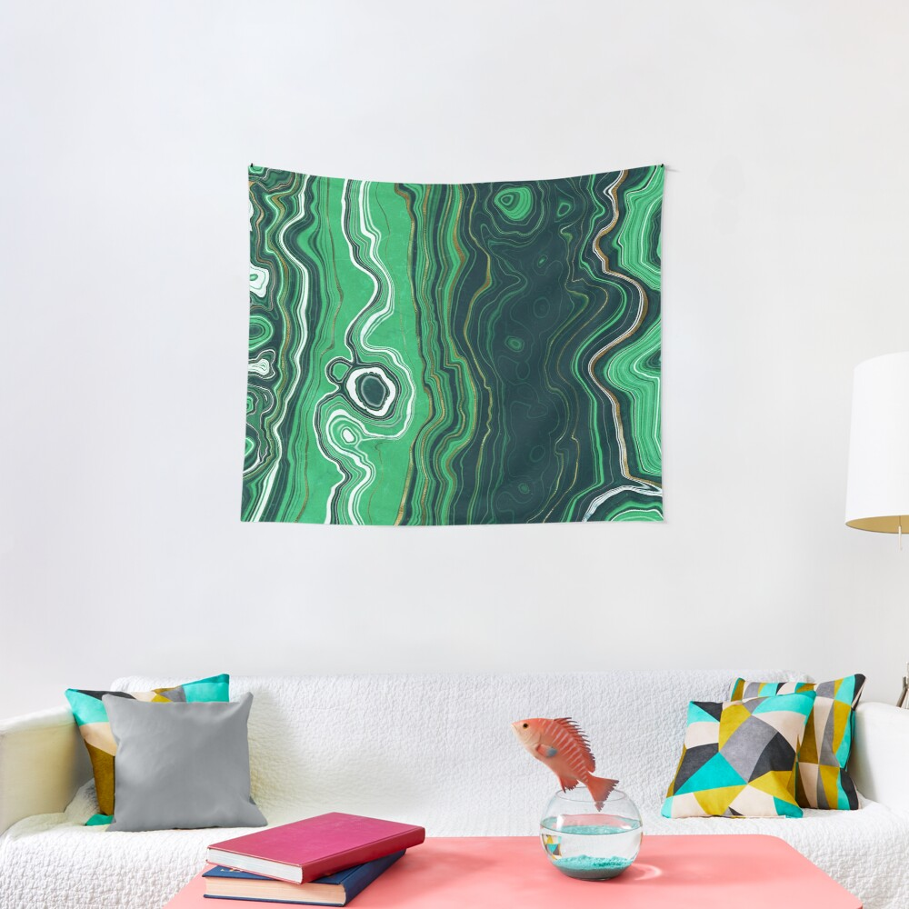 Malachite Green Marble with Gold Veins VI Tapestry