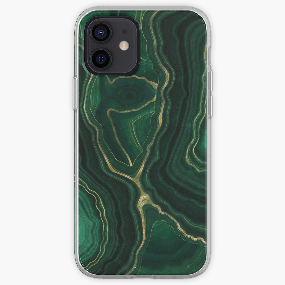 Malachite Green Marble with Gold Veins IV iPhone Case & Cover