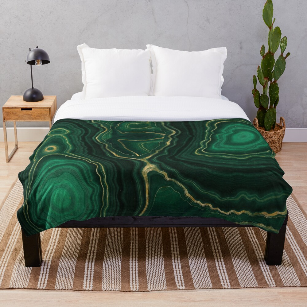 Malachite Green Marble with Gold Veins IV Throw Blanket
