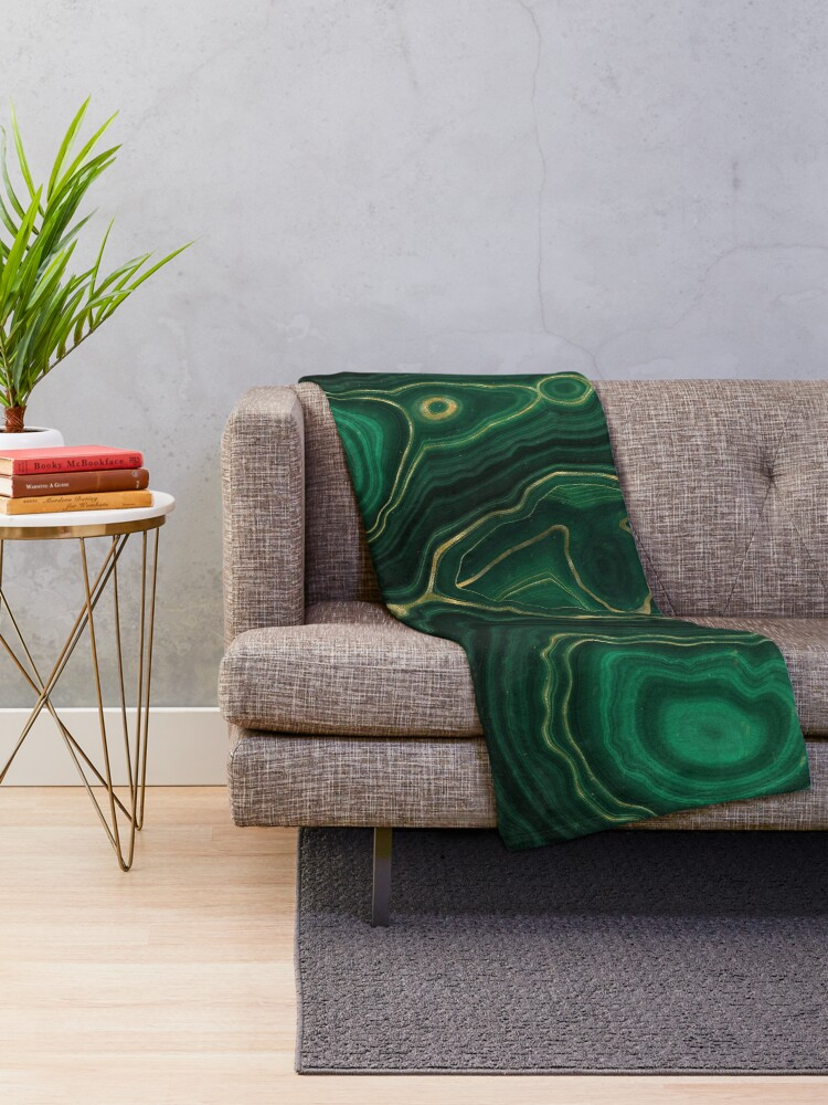 Alternate view of Malachite Green Marble with Gold Veins IV Throw Blanket