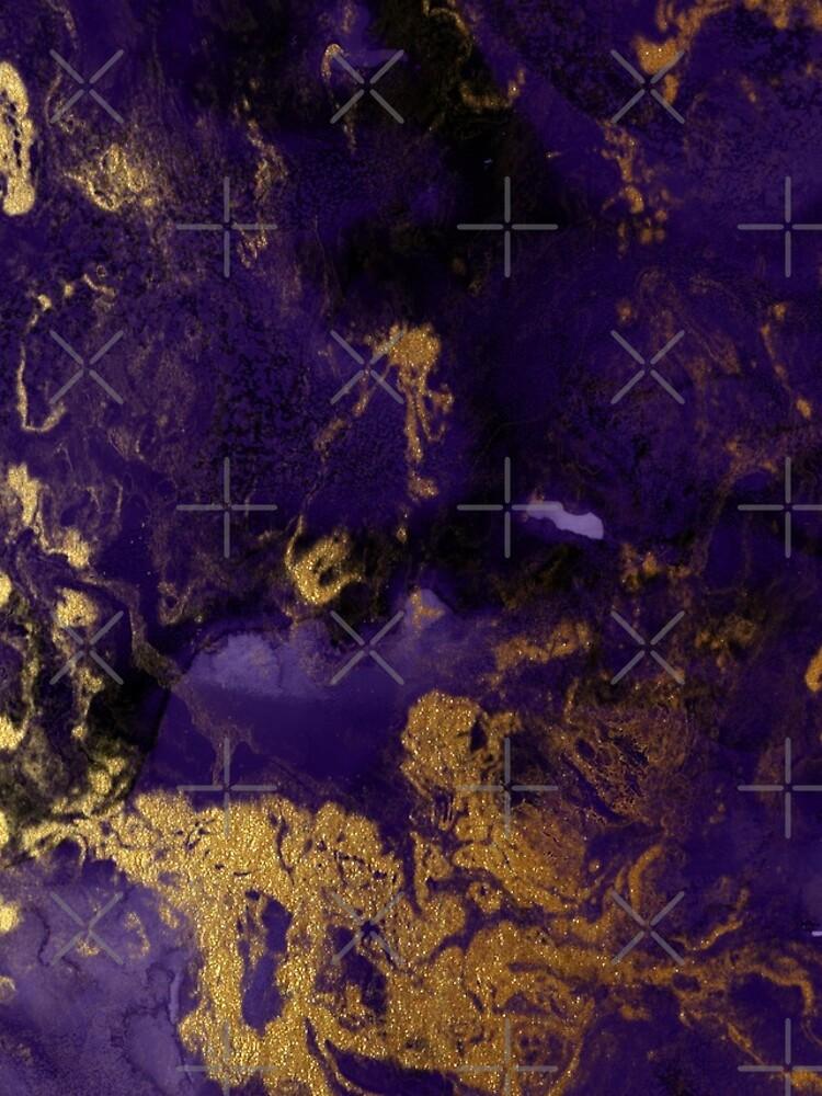 Dark Purple Ink Marble Texture with Gold Veins by MysticMarble