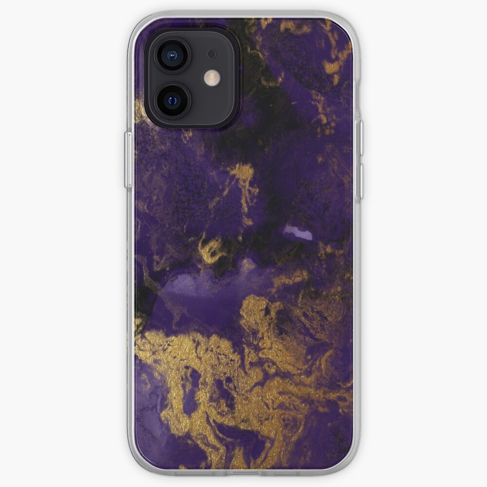 Dark Purple Ink Marble Texture with Gold Veins iPhone Case & Cover