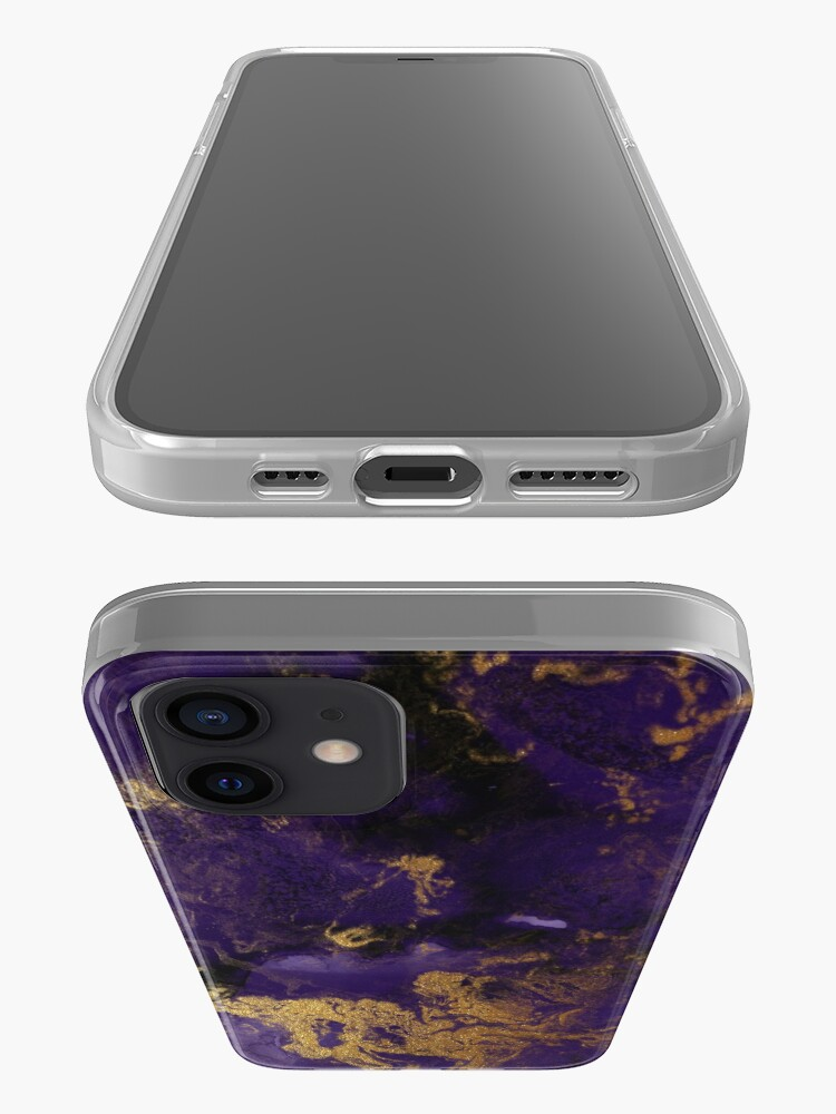 Alternate view of Dark Purple Ink Marble Texture with Gold Veins iPhone Case & Cover