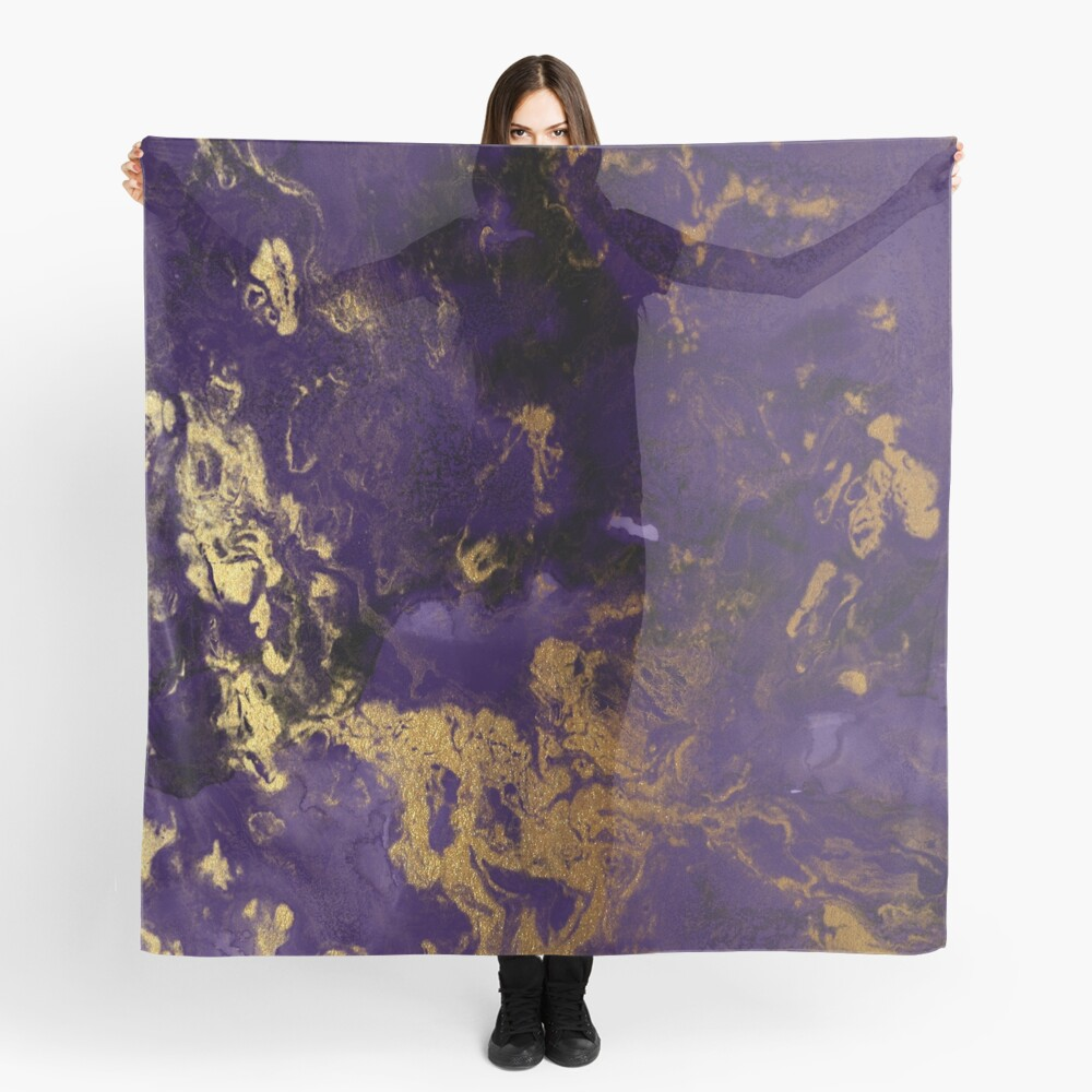 Dark Purple Ink Marble Texture with Gold Veins Scarf