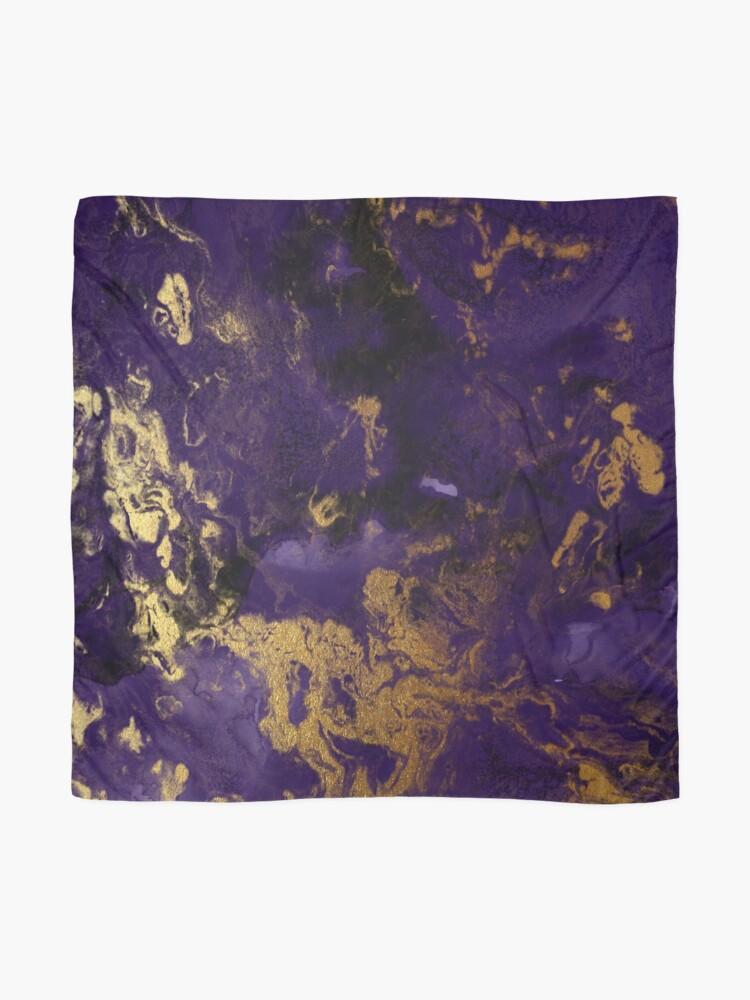 Alternate view of Dark Purple Ink Marble Texture with Gold Veins Scarf