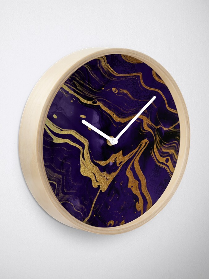 Alternate view of Dark Purple Ink Marble Texture with Gold Veins Clock