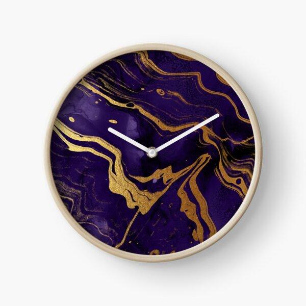 Dark Purple Ink Marble Texture with Gold Veins Clock