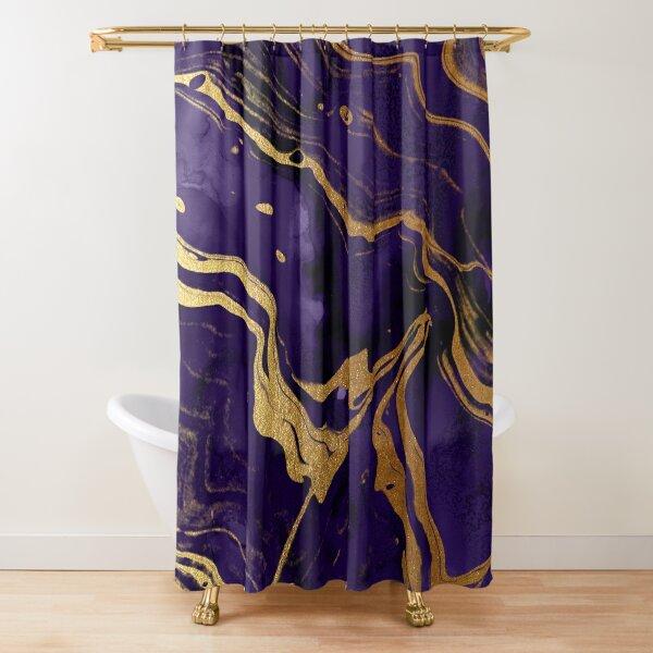 Dark Purple Ink Marble Texture with Gold Veins Shower Curtain