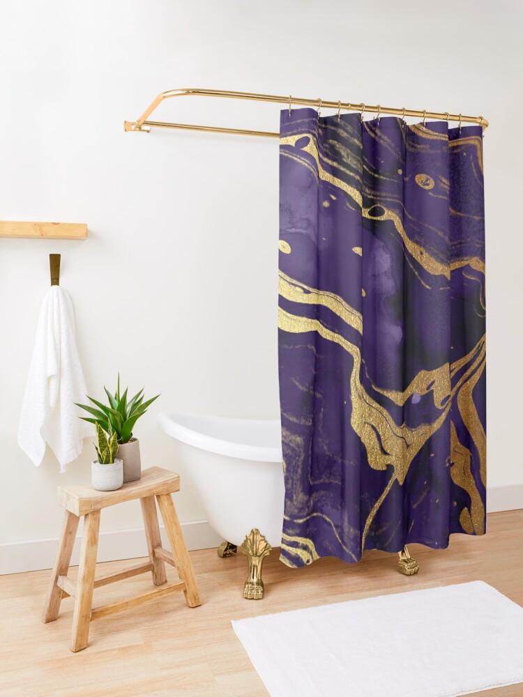 Alternate view of Dark Purple Ink Marble Texture with Gold Veins Shower Curtain