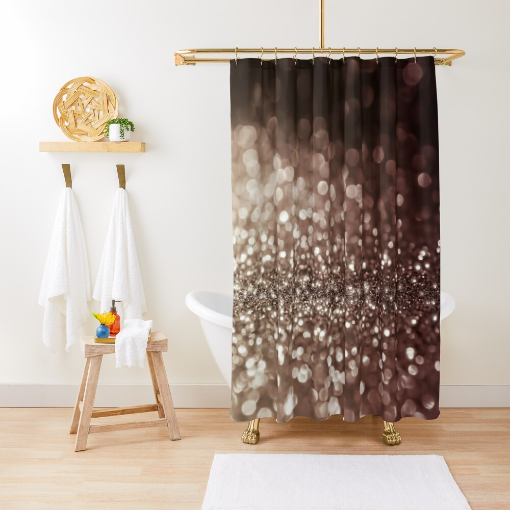 Mocca Brown  Glitter  Shower Curtain