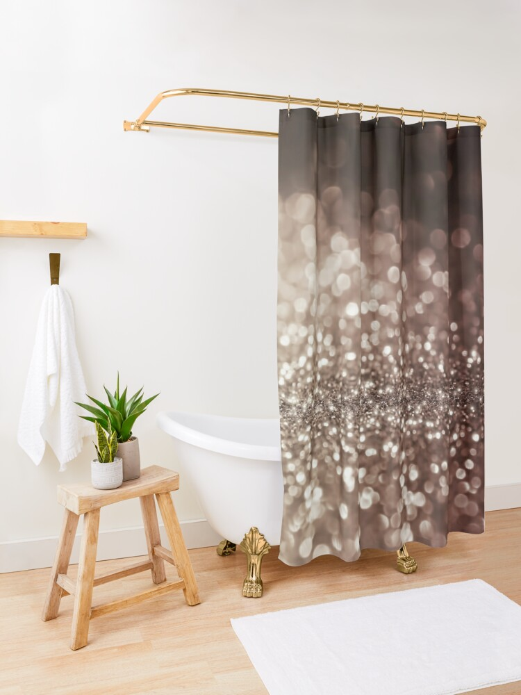Alternate view of Mocca Brown  Glitter  Shower Curtain
