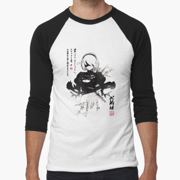 NieR:Automata 2B Japan Ink ニーア_オートマタ Baseball ¾ Sleeve T-Shirt