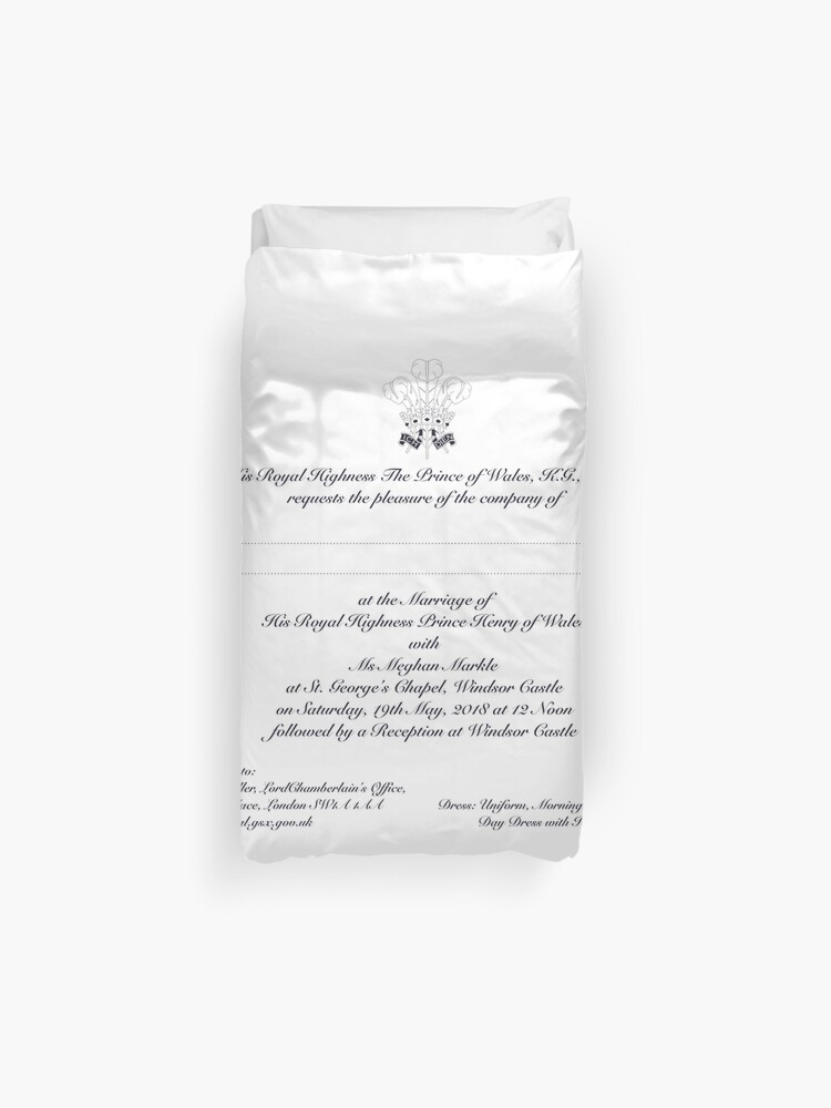 royal wedding invitation by meghan markle and prince harry duvet cover by sugar water redbubble royal wedding invitation by meghan markle and prince harry duvet cover by sugar water redbubble
