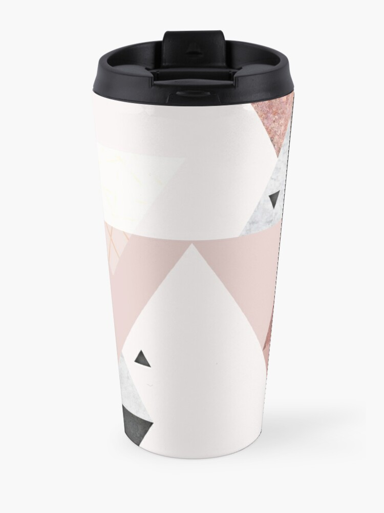 Alternate view of Geometric Compilation in Rose Gold and Blush Pink Travel Mug