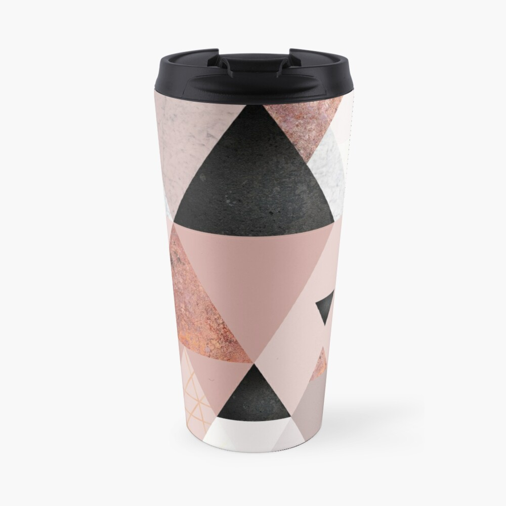 Geometric Compilation in Rose Gold and Blush Pink Travel Mug