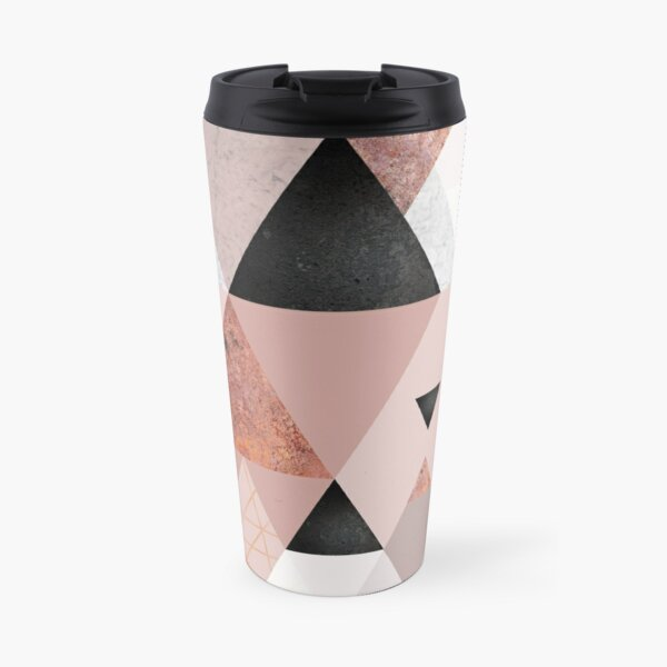Geometric Compilation in Rose Gold and Blush Pink Travel Mug