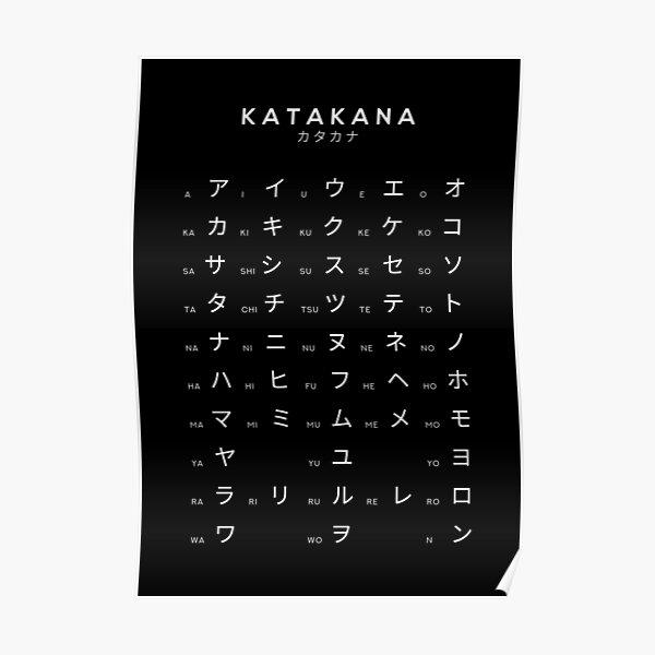 Katakana Chart - Japanese Alphabet Learning Chart - Black Poster