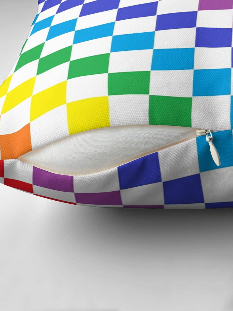 Alternate view of Checkered Rainbow  Floor Pillow