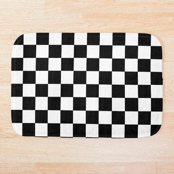 Checkered Black and White Bath Mat