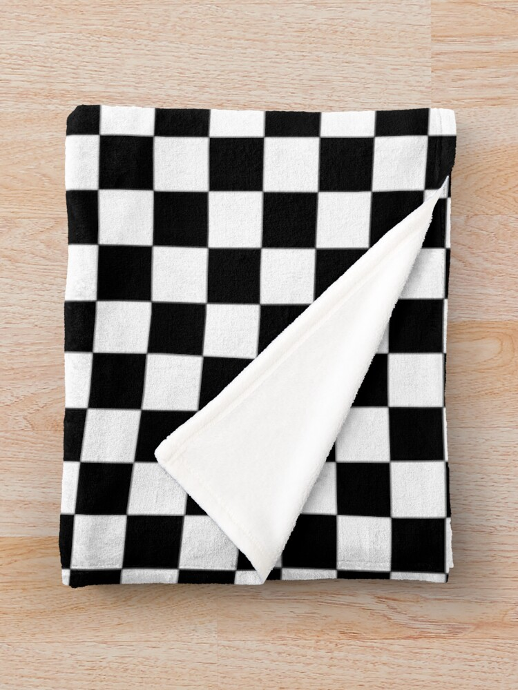 Alternate view of Checkered Black and White Throw Blanket